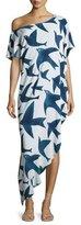 Mara Hoffman One-Shoulder Bird-Print Dashiki Coverup Dress, White/Navy Blue