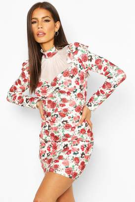 boohoo Floral Mesh Insert Puff Sleeve Mini Dress