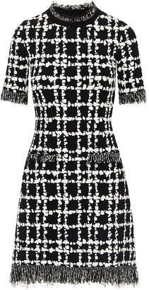 Oscar de la Renta Two-Tone Checked Mini Dress