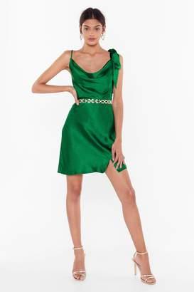 Nasty Gal Womens Don'T Tie And Hide It Satin Mini Dress - Black - 6
