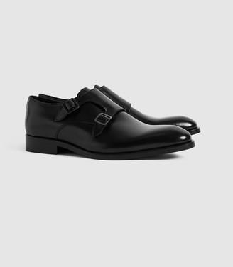 Reiss Gelder - Leather Double Monk Strap Shoes in Black