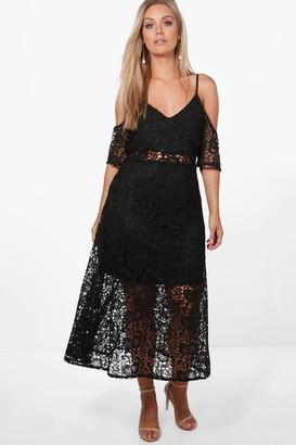boohoo Plus Crochet Lace Premium Skater Dress