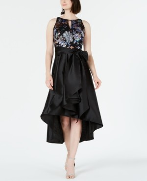 R & M Richards Petite Sequinned High-Low Gown