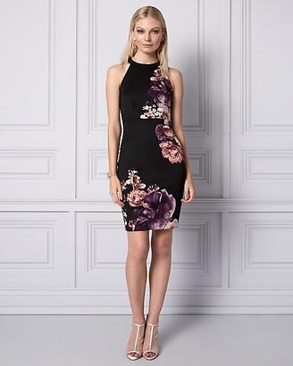 Le Château Floral Print Knit Crepe Halter Dress