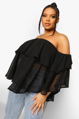 boohoo Plus Off The Shoulder Dobby Mesh Top