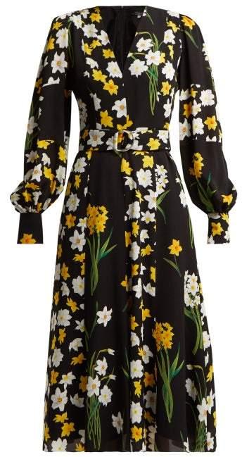 Andrew Gn Daffodil Print Silk Midi Dress - Womens - Black Print