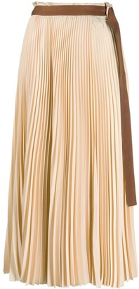 Alysi Belted Pleated Skirt