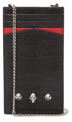 Alexander McQueen Skull Lizard-effect Leather Phone Pouch - Black Red