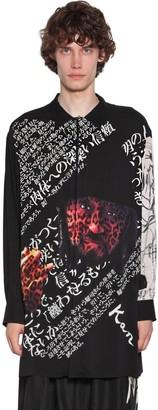Yohji Yamamoto Long Yohji Print Viscose Shirt