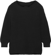 Hatch The Open Neck Ribbed Cotton-blend Sweater - Black