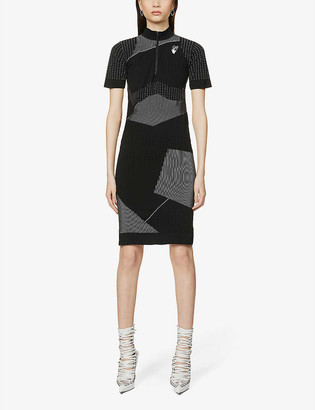 Off-White Athel contrast-print stretch-knit midi dress