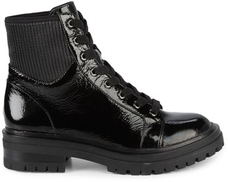 Kenneth Cole New York Rhode Patent Leather Combat Boots