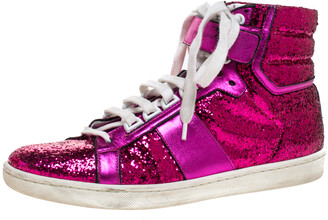 Saint Laurent Paris Pink Glitter And Leather High Top Sneakers Size 40