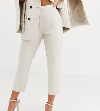 Asos DESIGN Petite tailored slim suit trouser-Stone