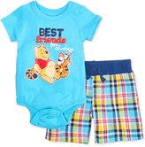 Nannette 2-Pc. Winnie The Pooh Best Friends Bodysuit & Plaid Shorts Set, Baby Boys (0-24 months)