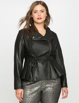 ELOQUII Plus Size Cinched Waist Faux Leather Jacket
