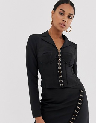 4th + Reckless corset collar blazer with hook and eye detail in black