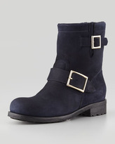 Jimmy Choo Youth Suede and Shearling Biker Boot, Navy