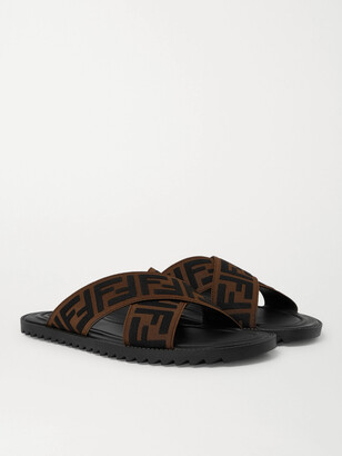 Fendi Logo-Appliqued Webbing Sandals