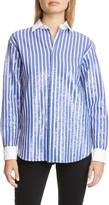 Polo Ralph Lauren Sequin Stripe Long Sleeve Blouse