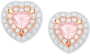 Swarovski Two-Tone Crystal Heart Stud Earrings