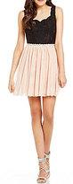 Jodi Kristopher Color Block Scalloped Neckline Lace Bodice A-line Dress