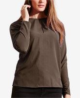 Lauren Ralph Lauren Plus Size Crepe Keyhole Blouse