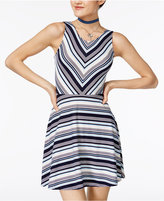 Planet Gold Juniors' Striped Cutout Fit and Flare Dress