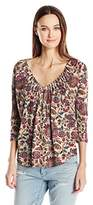 Lucky Brand Women's Plus Size Printed Pintuck Top