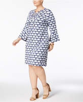 Charter Club Plus Size Printed Lace-Up Knit Dress, Created for Macy's