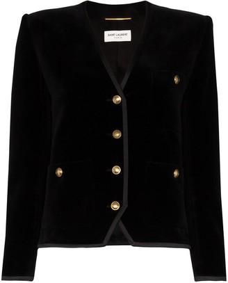 Saint Laurent Collarless Velvet-Effect Jacket