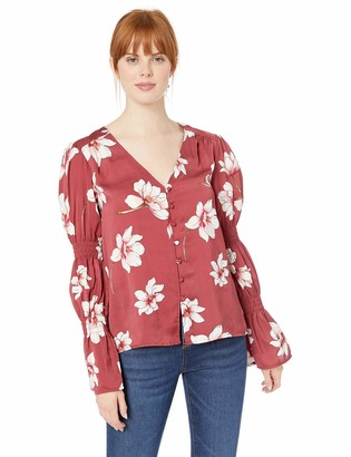Cupcakes And Cashmere Women's Christa Magnolia Printed Button Blouse w/Sleeve Smocking