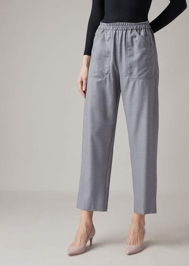 97f11345b0 Cropped Pants In Pure Wool Melange Gabardine