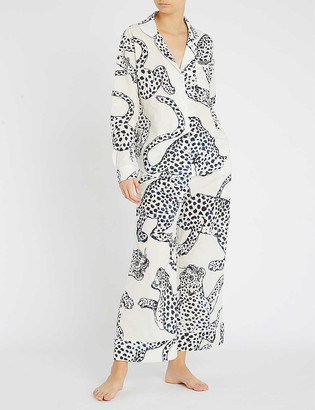 Desmond & Dempsey Wide-leg cotton pyjama bottoms