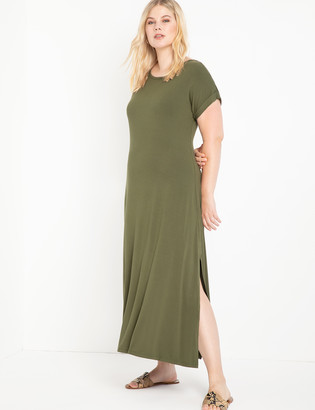 ELOQUII Maxi Tee Dress With Side Slits