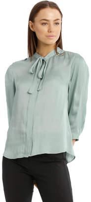 Basque Tie Neck Silky Top