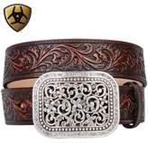 Ariat Women's Scroll Embosed Buckle Belt Accessory, -brown