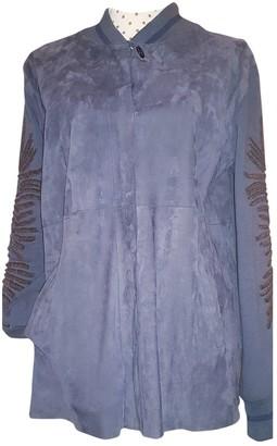 Maliparmi Blue Leather Jacket for Women