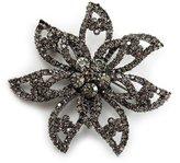 Avalaya Dim Swarovski Layered Flower Brooch (Gun Metal Finish)