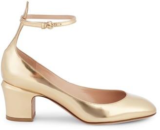 Valentino Metallic Leather Block Heel Pumps
