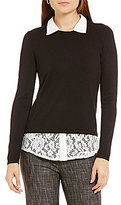 Investments Point Collar Long Sleeve Lace Shirttail Hem Sweater