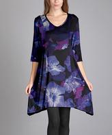 Aster Purple & Black Sidetail Dress - Plus Too