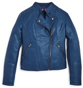Aqua Girls' Quilted Faux Leather Moto Jacket , Sizes S-XL - 100% Exclusive