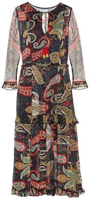 Velvet Glimmer printed crepe midi dress