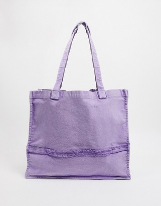 ASOS DESIGN oversized tote bag with raw edges in washed lilac