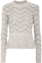 Isabel Marant Elson Mélange Knitted Sweater - Light gray