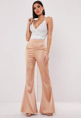 Missguided Petite Nude Satin High Waisted Flare Pants