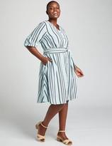 Lane Bryant Textured Stripe Fit & Flare Shirtdress