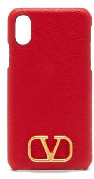 Valentino V Logo Leather Iphone Xs Max Case - Womens - Red