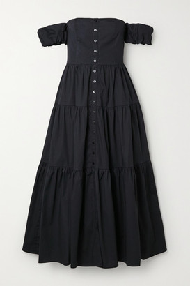 STAUD Elio Off-the-shoulder Cotton-blend Midi Dress - Black
